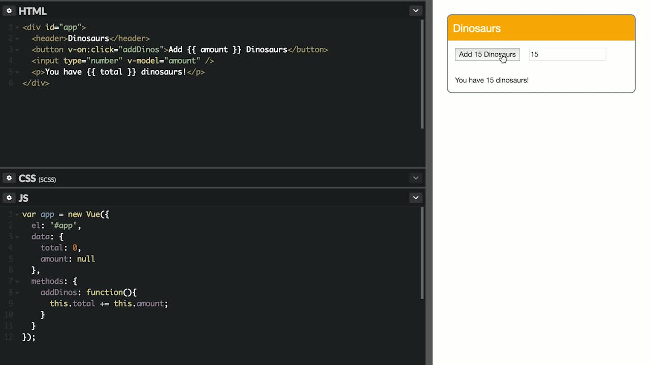 AngularJS tutorial about Handle DOM Events in Vue.js with v-on