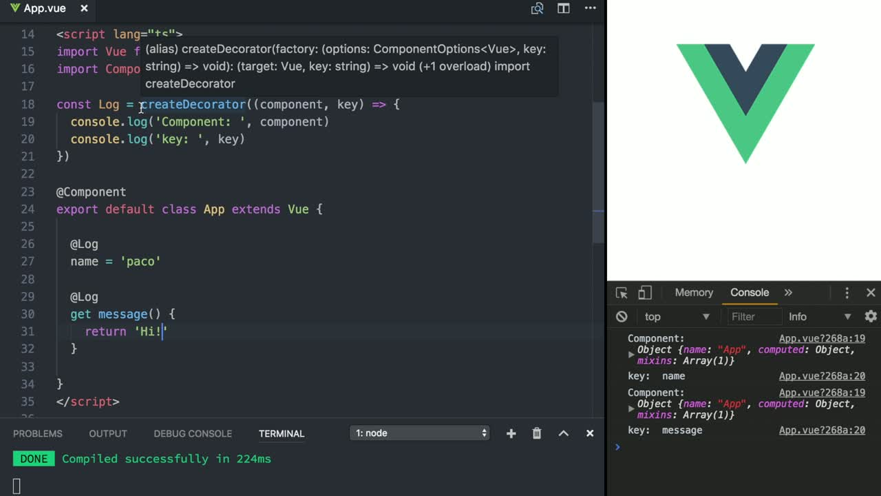 vue tutorial about Create your own Decorators in Vue with TypeScript