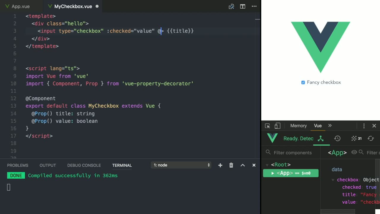 vue tutorial about Use Two-Way Binding in Vue Using @Model Decorator with TypeScript